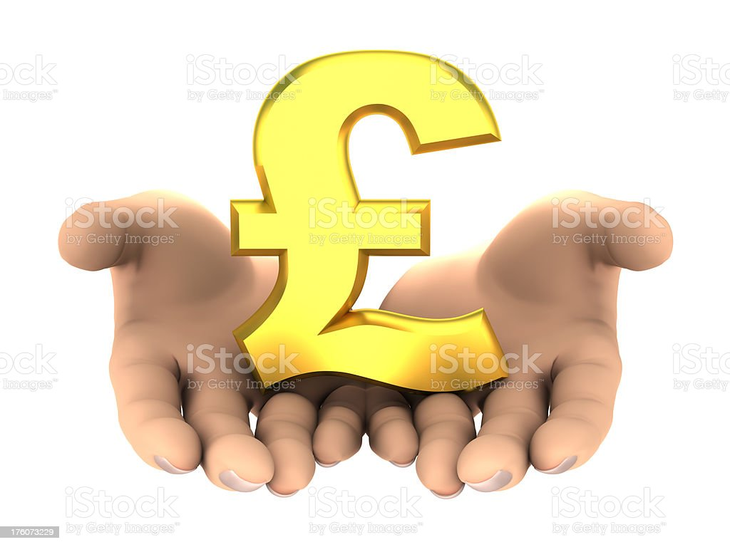 Pounds sign in hands - isolated with clipping path royalty-free stock photo