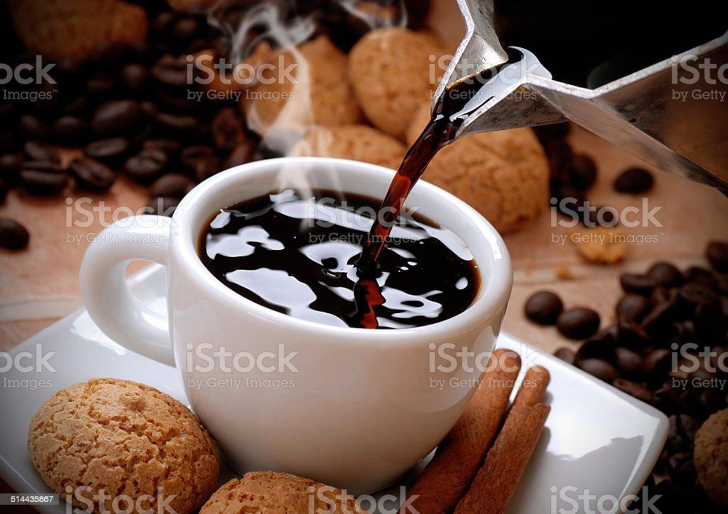 pour the coffee stock photo