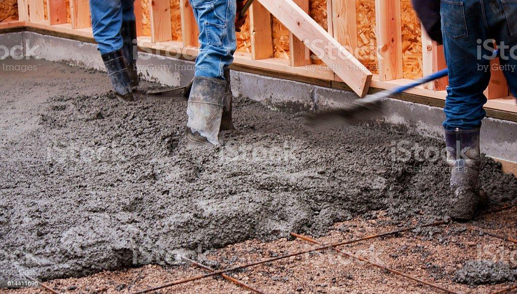 Pouring a Concrete Floor stock photo