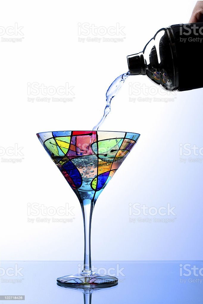 Pouring A Martini royalty-free stock photo