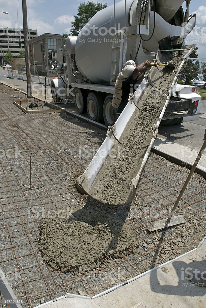 Pouring a New Sidewalk royalty-free stock photo