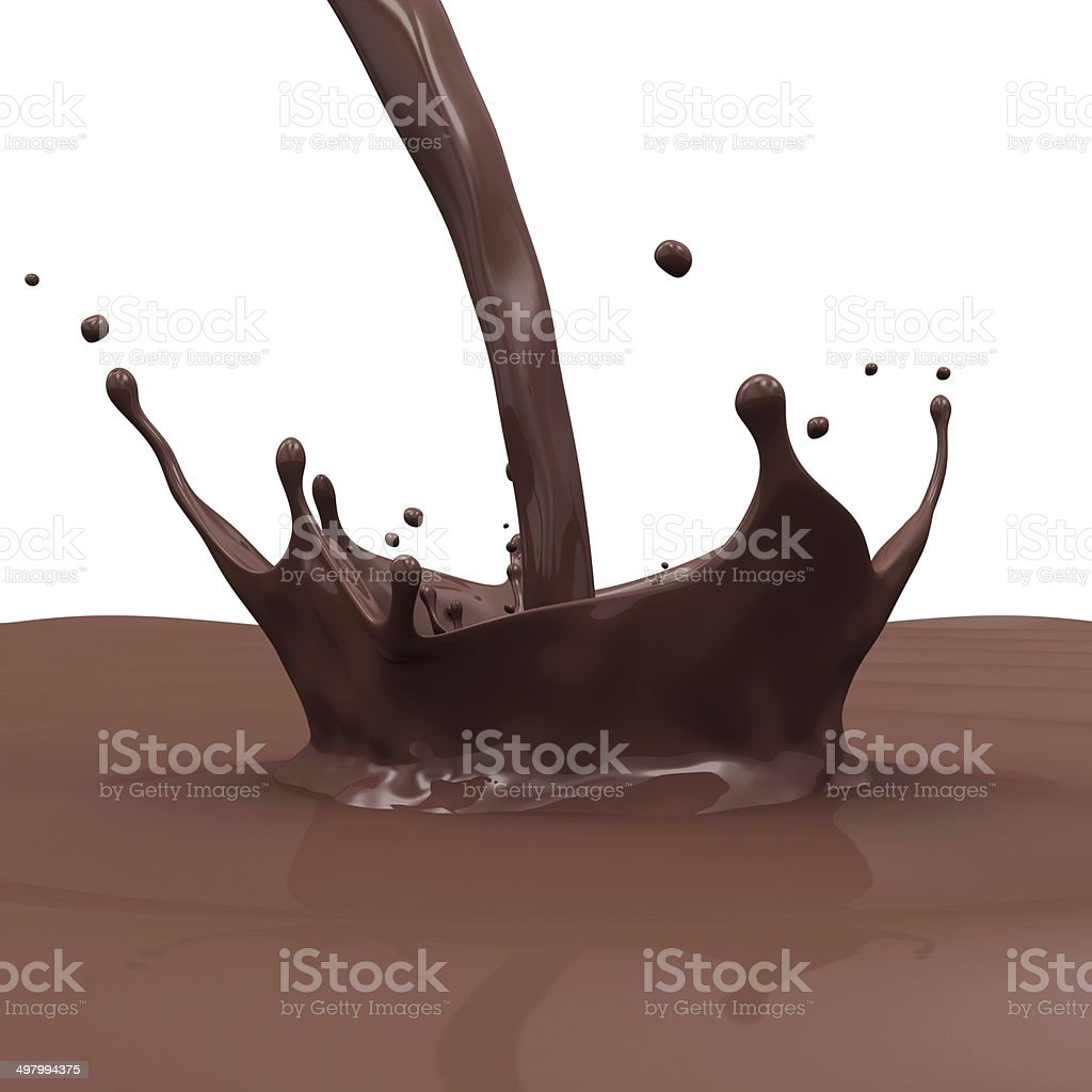 Pouring Chocolate Splash isolated on white background royalty-free stock photo