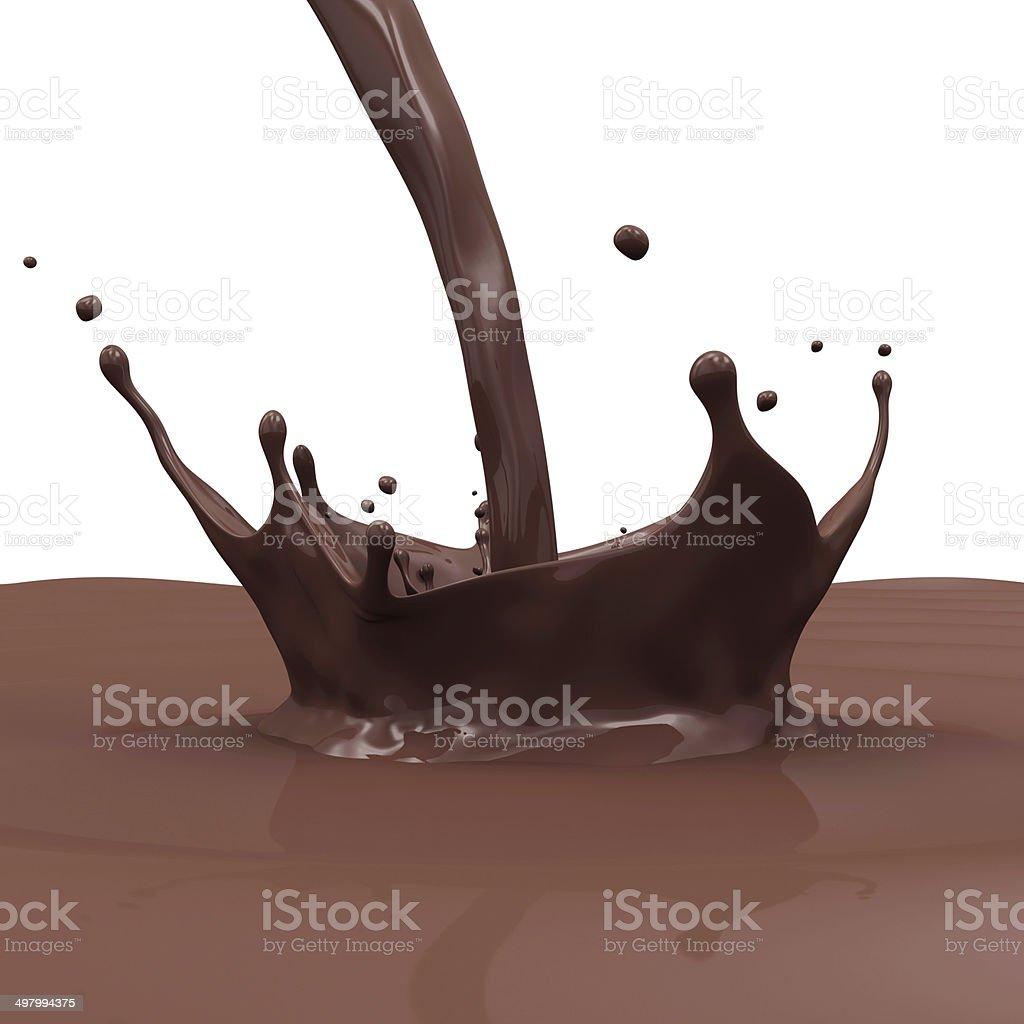 Pouring Chocolate Splash isolated on white background stock photo