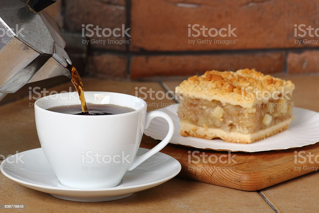 Pouring Coffee into Cup and Apple Pie. Breakfast. stock photo