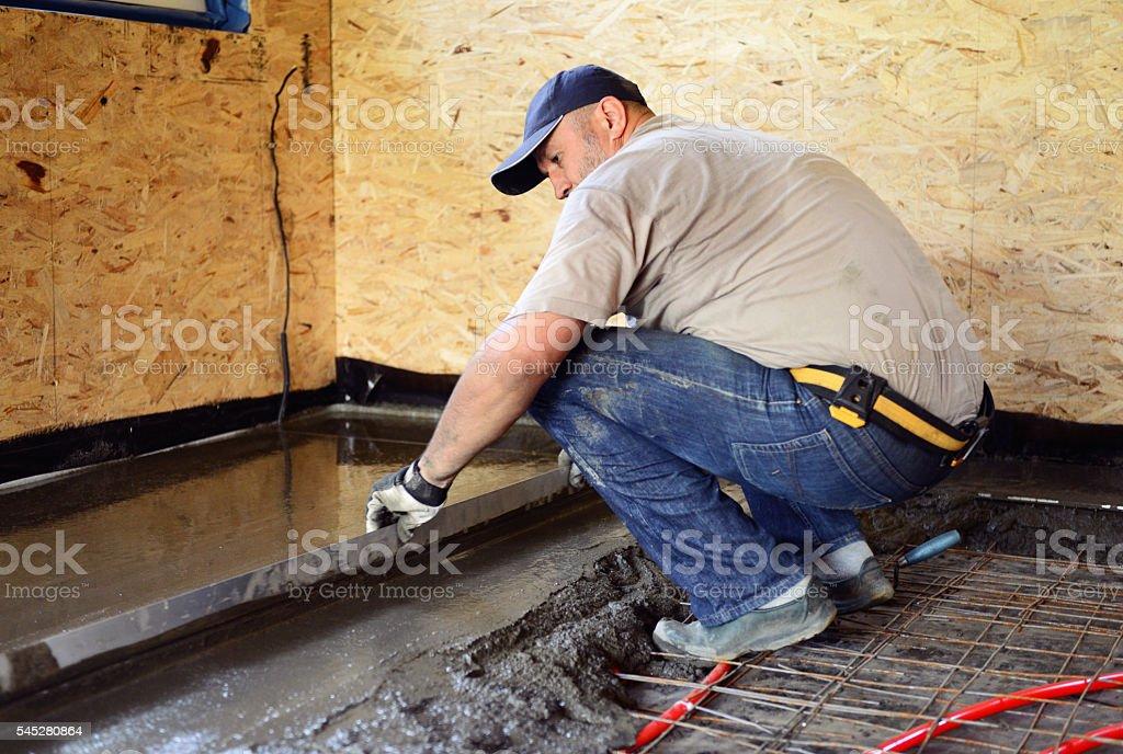 pouring concrete floor stock photo