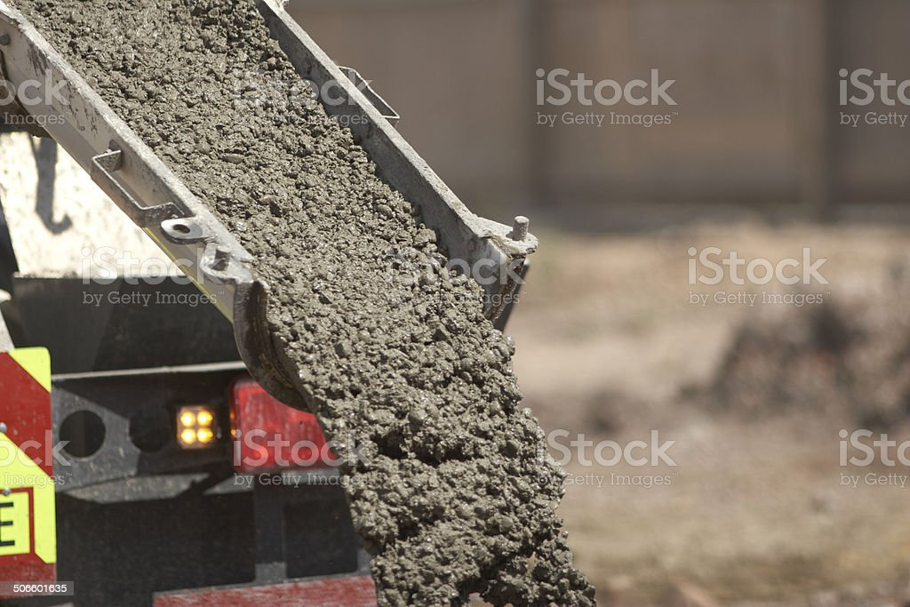 Pouring Concrete Into Hole From Lorry stock photo