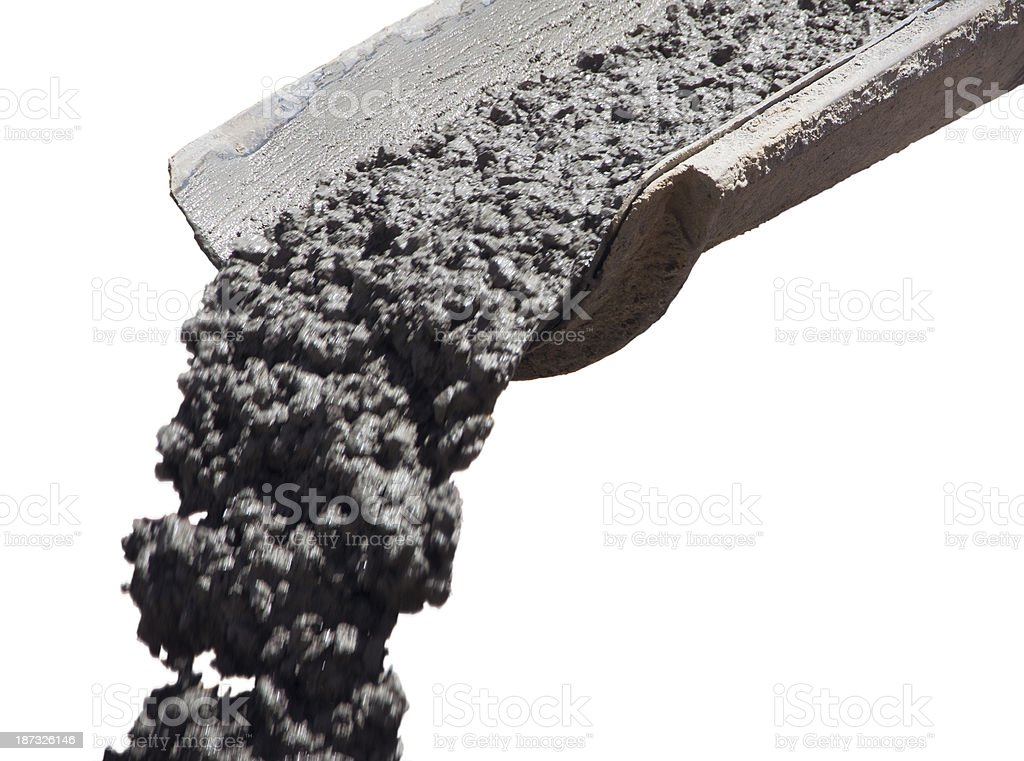 Pouring Concrete Isolated on White stock photo