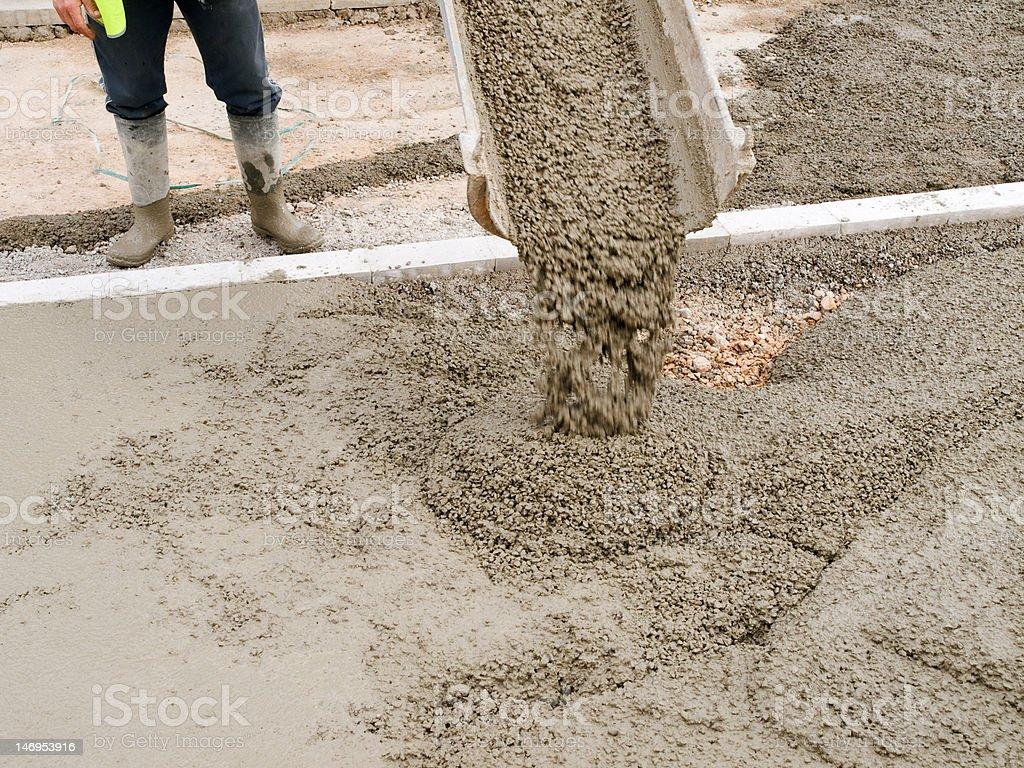 Pouring concrete stock photo