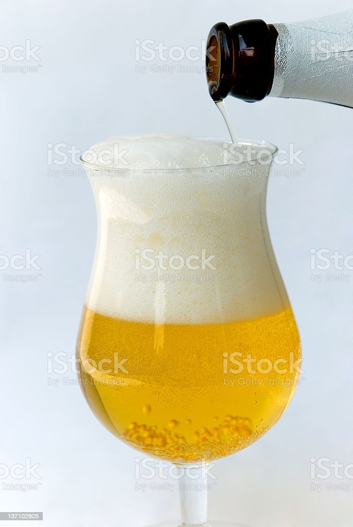 Pouring Glass fresh Beer stock photo