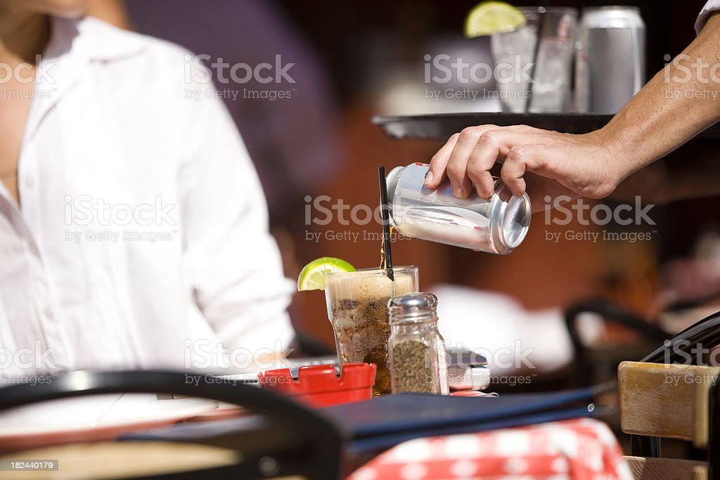 Pouring juice royalty-free stock photo