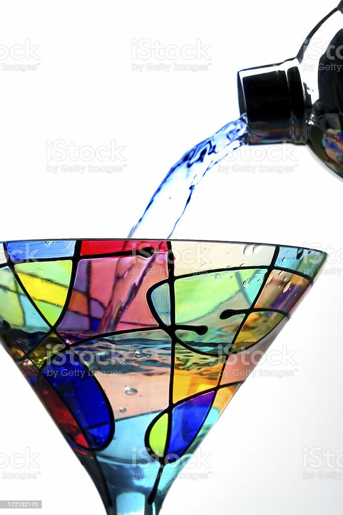 Pouring Martini Close Up stock photo