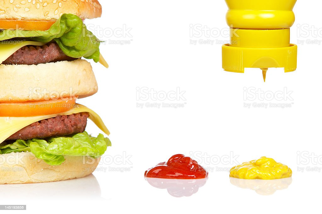 Pouring mustard royalty-free stock photo