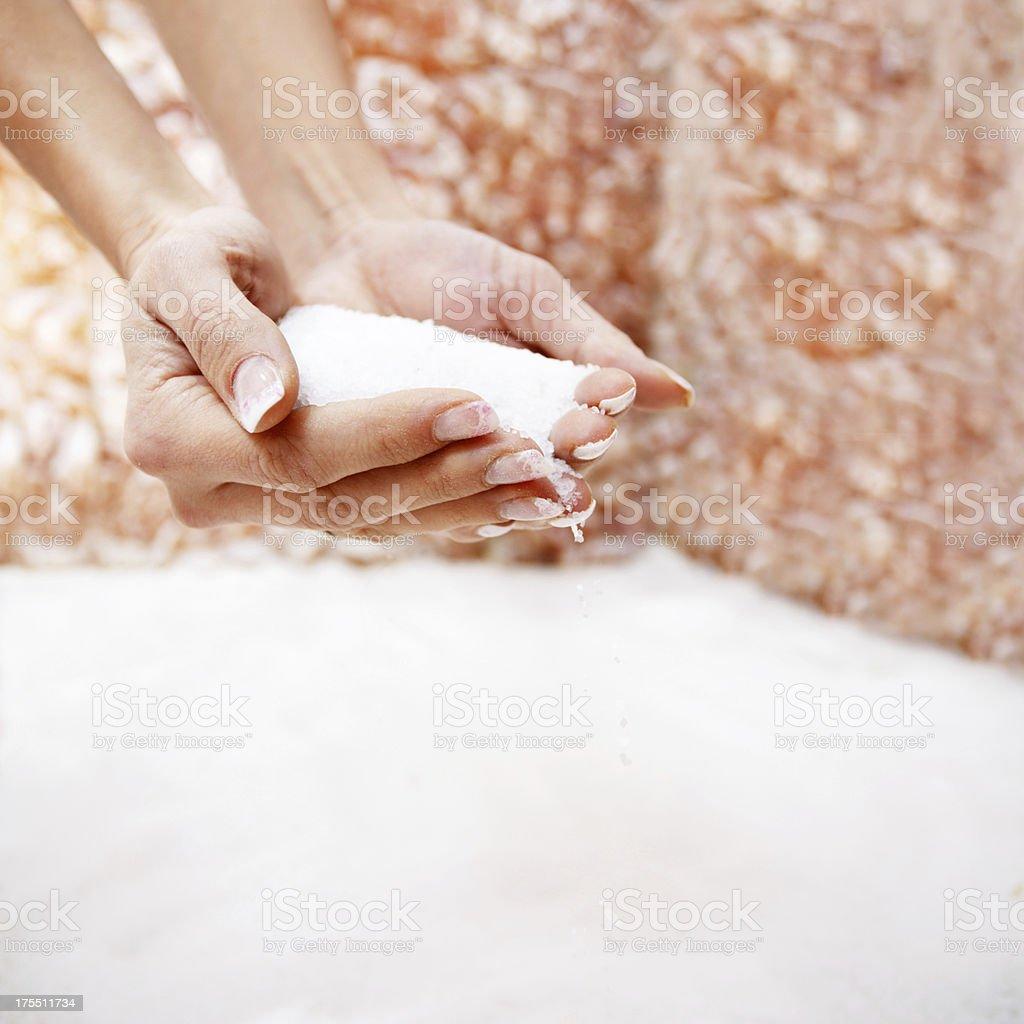 Pouring salt . stock photo