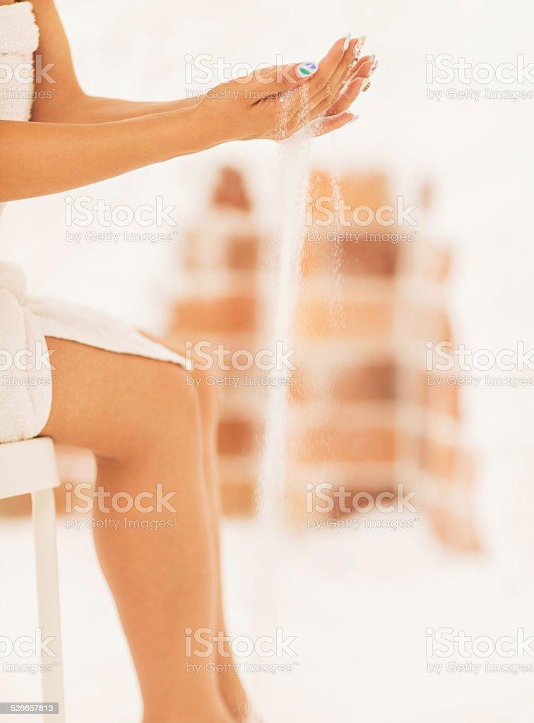 Pouring salt. stock photo