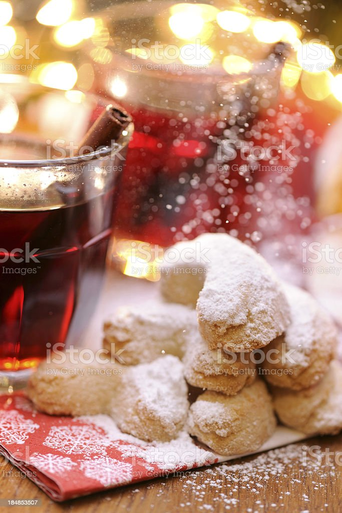 Pouring sugar to christmas cookies royalty-free stock photo