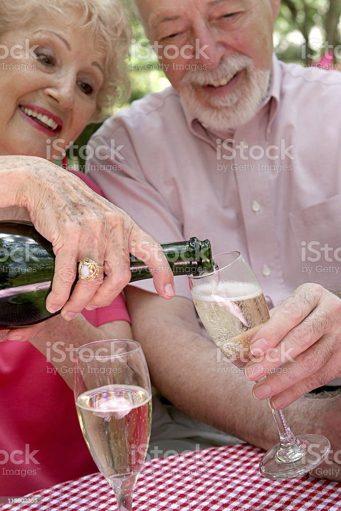 Pouring the Bubbly royalty-free stock photo