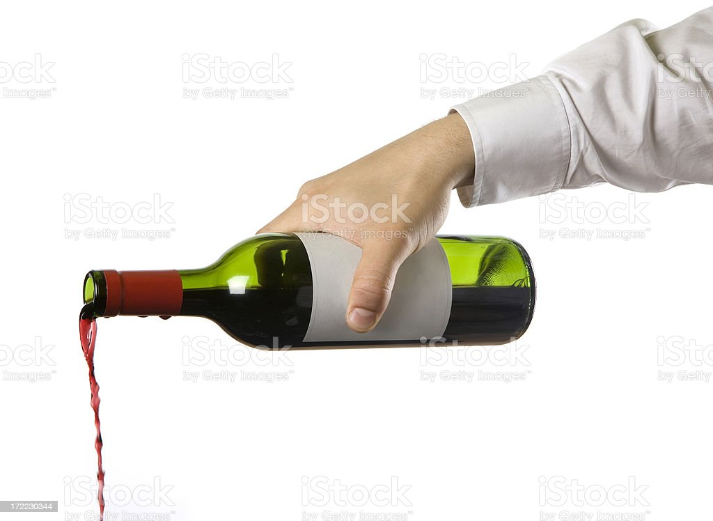 Pouring the Red. stock photo