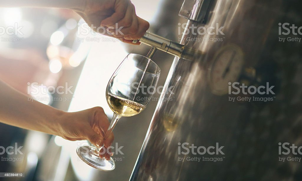 Pouring white wine out of stainless steel wine tank. stock photo