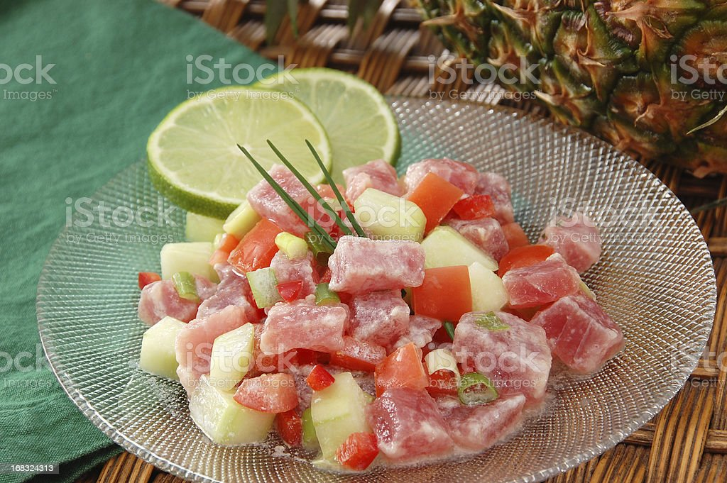 Poussin cru or raw fish with pineapple stock photo