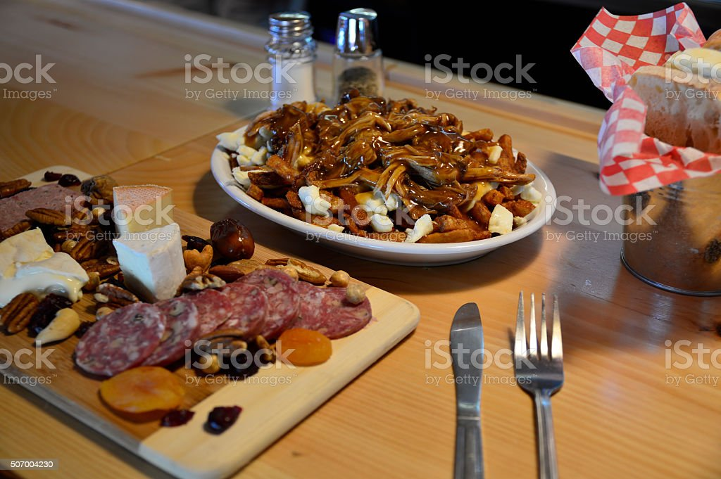poutine for lunch stock photo