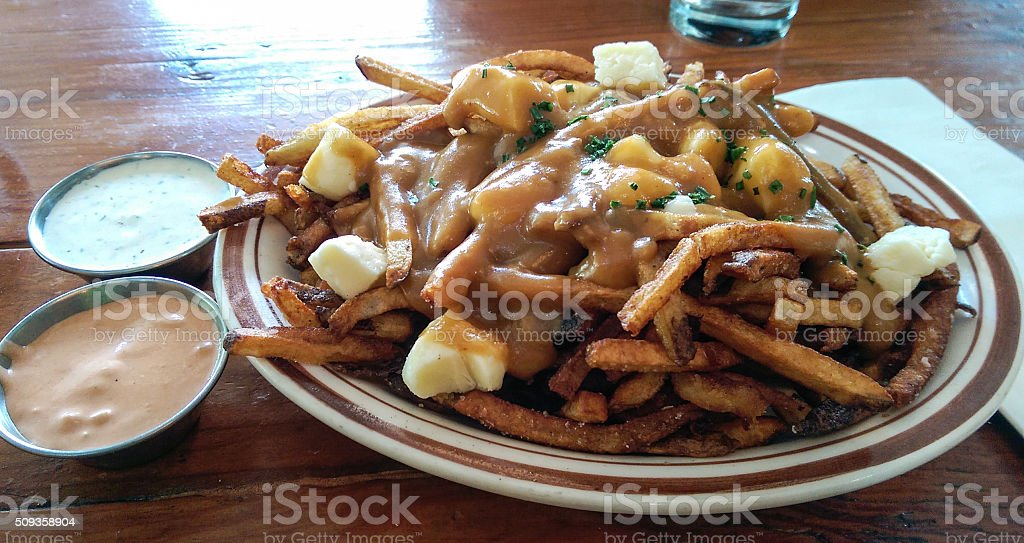 Poutine with dressing stock photo