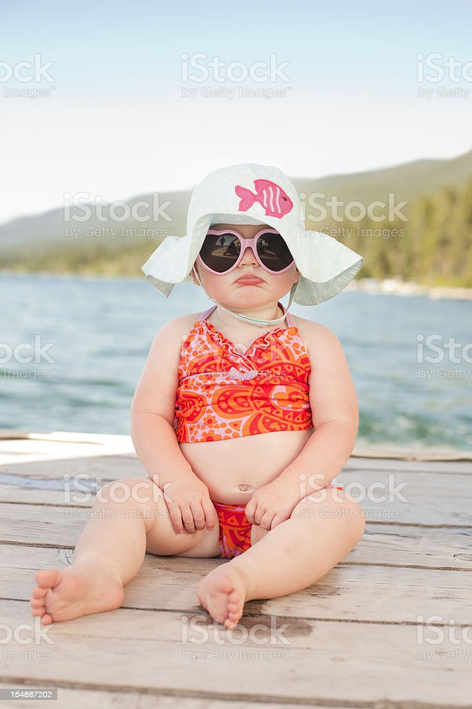 Pouting Beach Baby royalty-free stock photo