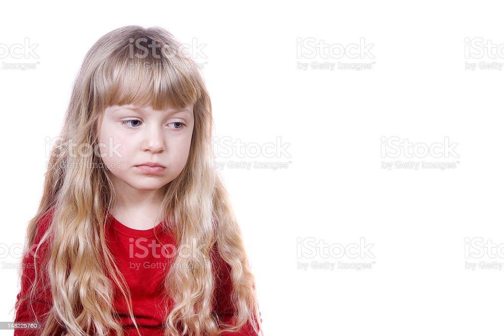 Pouting little girl stock photo