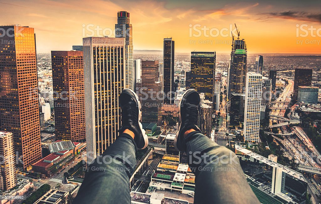 pov from the helicopter ove los angeles downtown stock photo