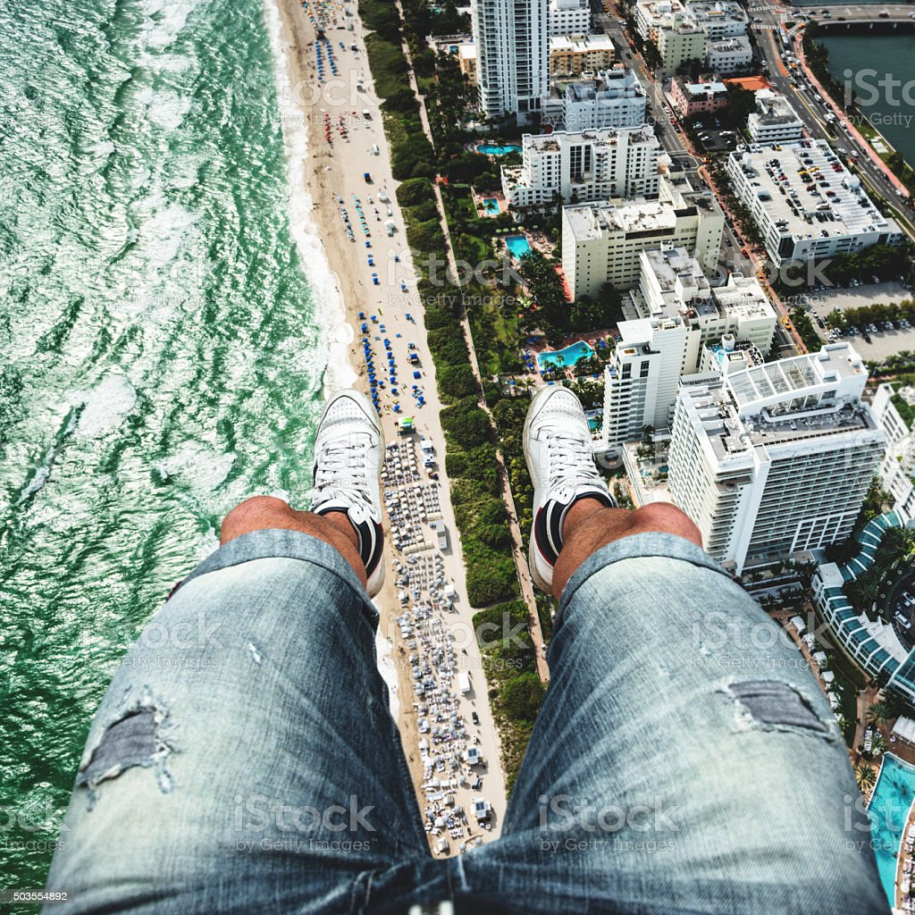 pov from the helicopter over miami stock photo