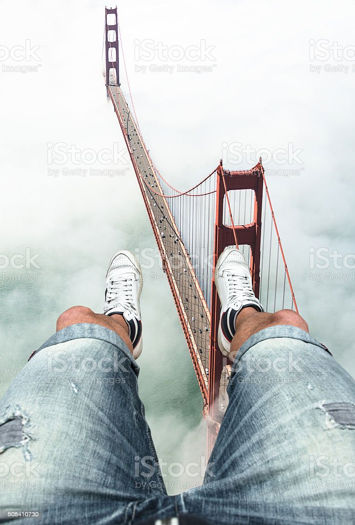 pov from the helicopter over San Francisco stock photo