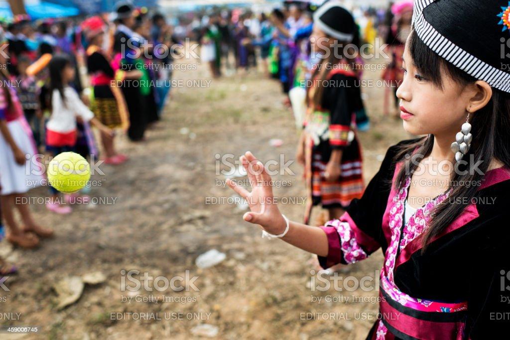 Pov Pob Traditional Hmong Ball Game royalty-free stock photo