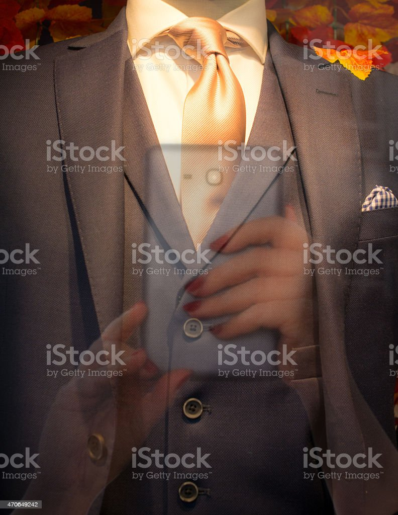 pov Window shopping or showrooming reflecton stock photo