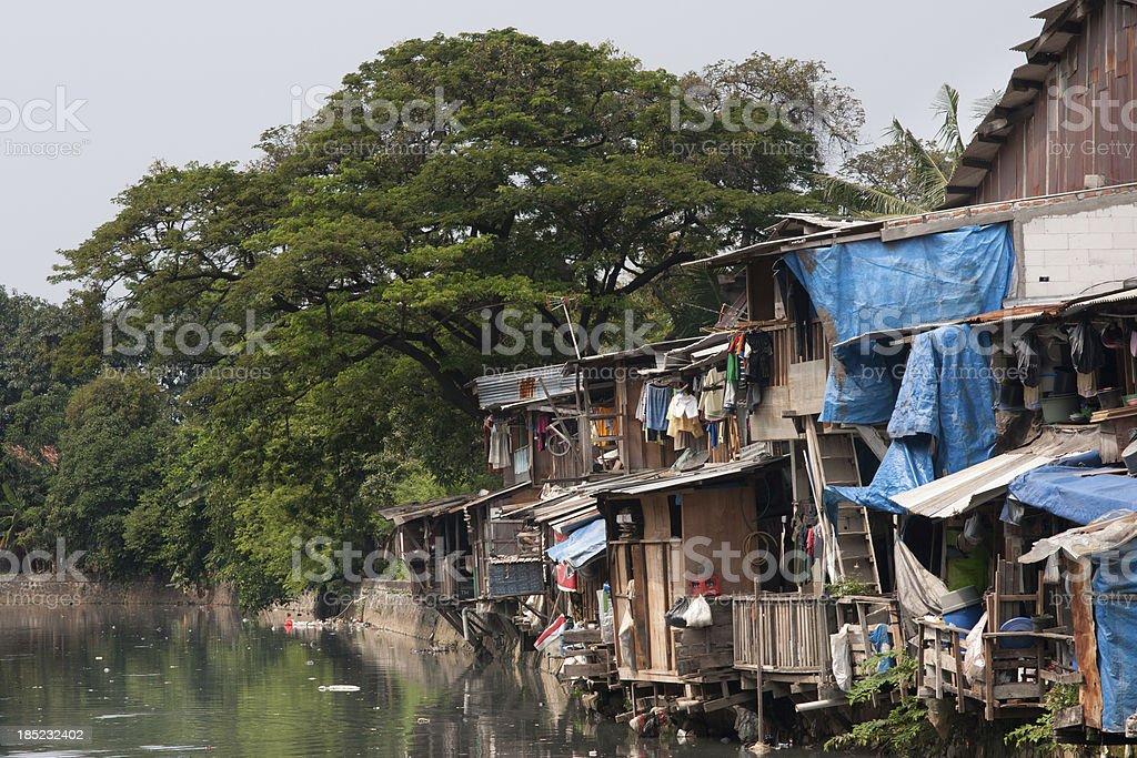 Poverty, Shacks Jakarta, Indonesia royalty-free stock photo