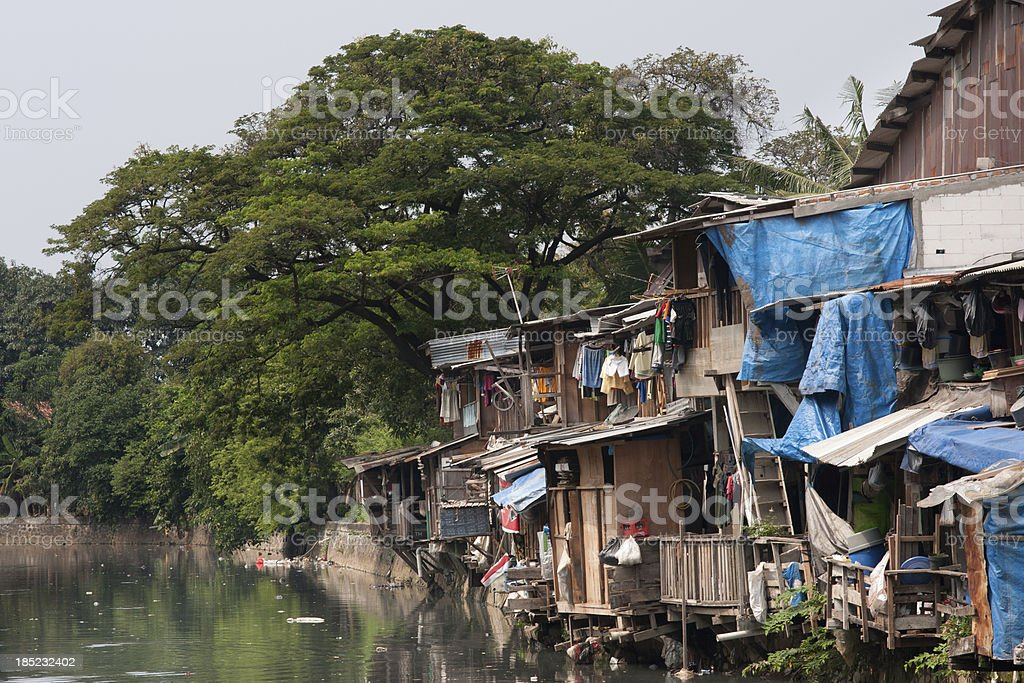 Poverty, Shacks Jakarta, Indonesia stock photo