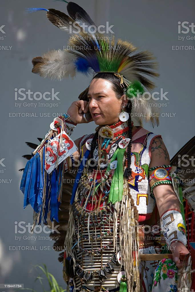 Pow Wow Dancer on Cell Phone stock photo