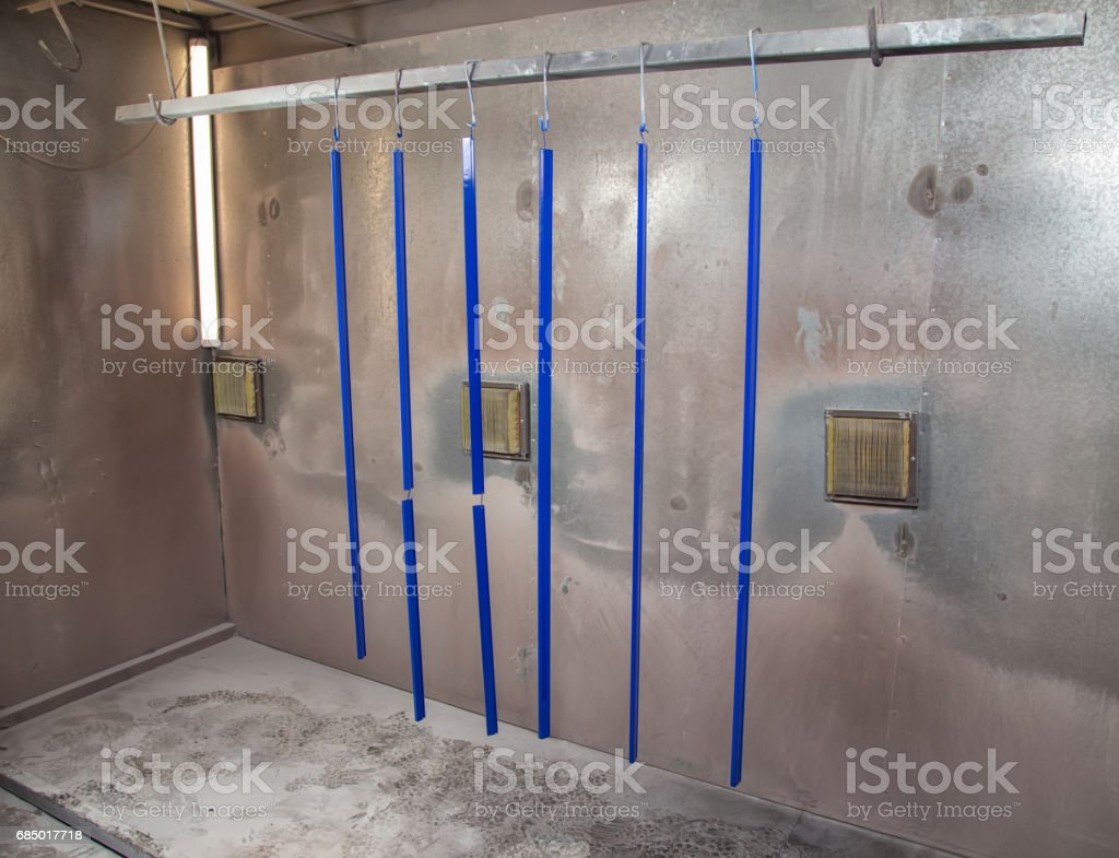 Powder coating of blue metal details stock photo