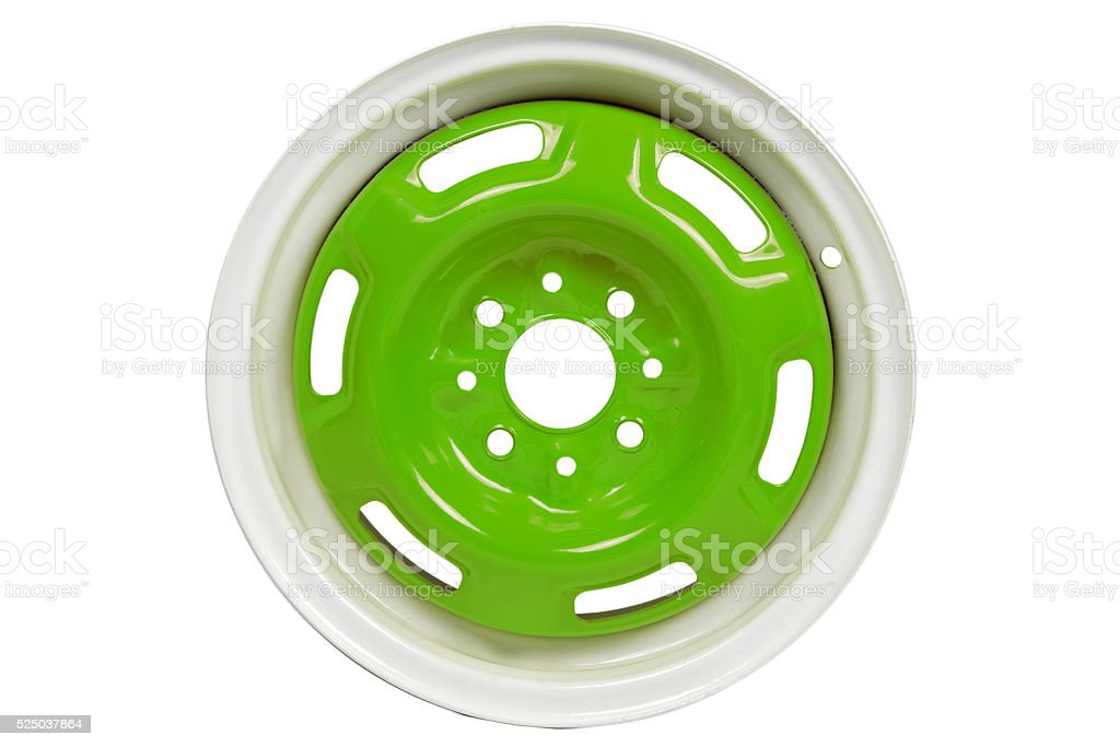 Powder coating of green wheel disk stock photo