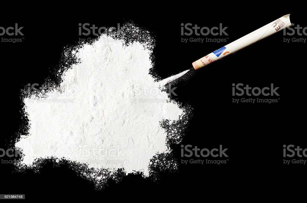 Powder drug like cocaine in the shape of Belarus stock photo