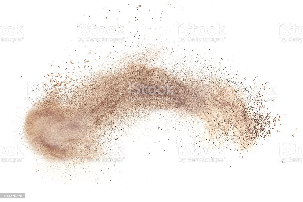 powder foundation explosion isolated on white stock photo