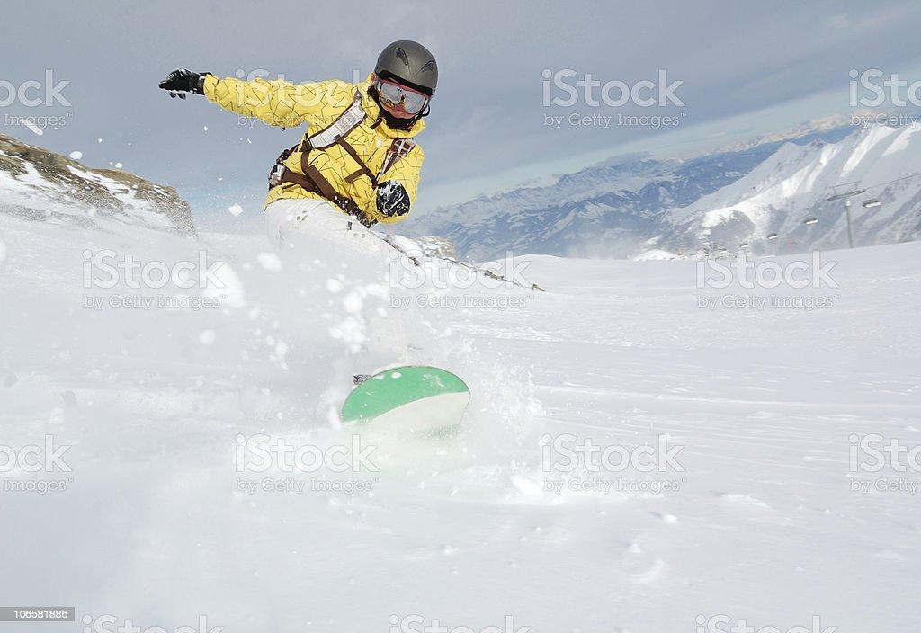 powder freeride snowboarding royalty-free stock photo