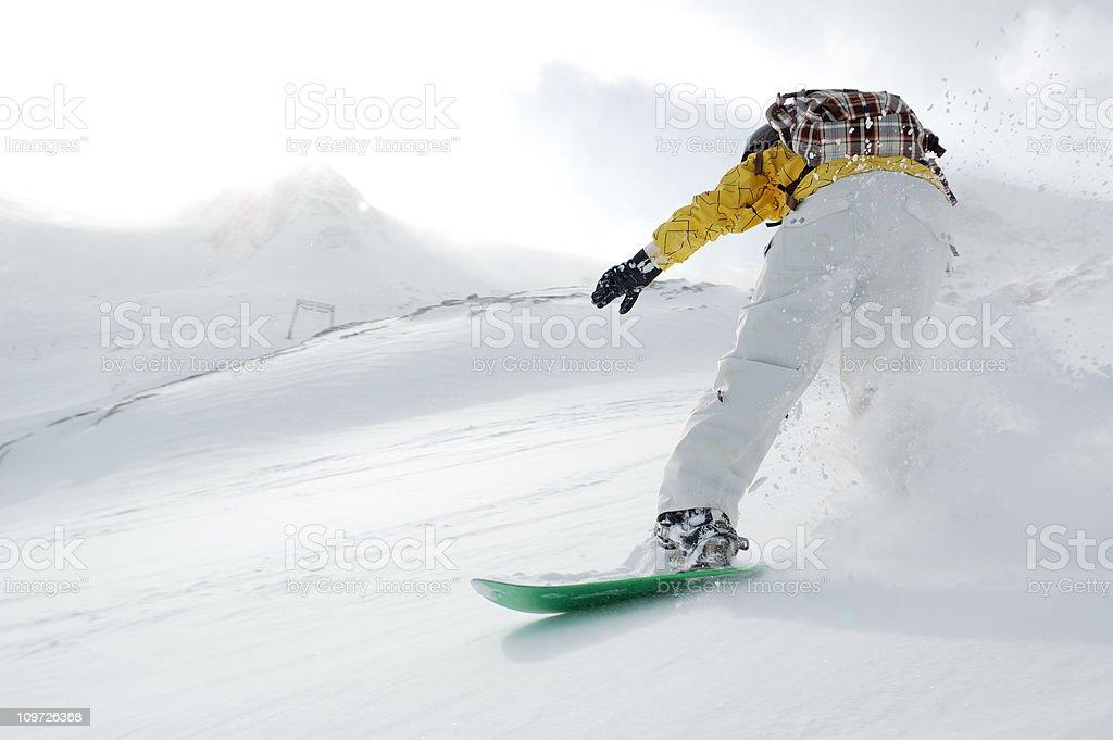 powder freeride snowboarding stock photo