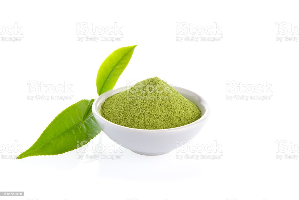 powder green tea and green tea leaf  on white background stock photo