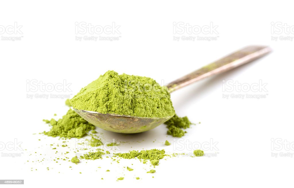 Powder green tea stock photo