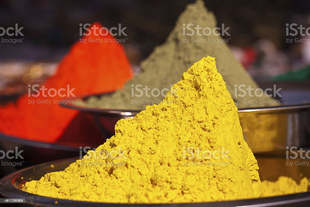 Powder of different colors for holi festival stock photo