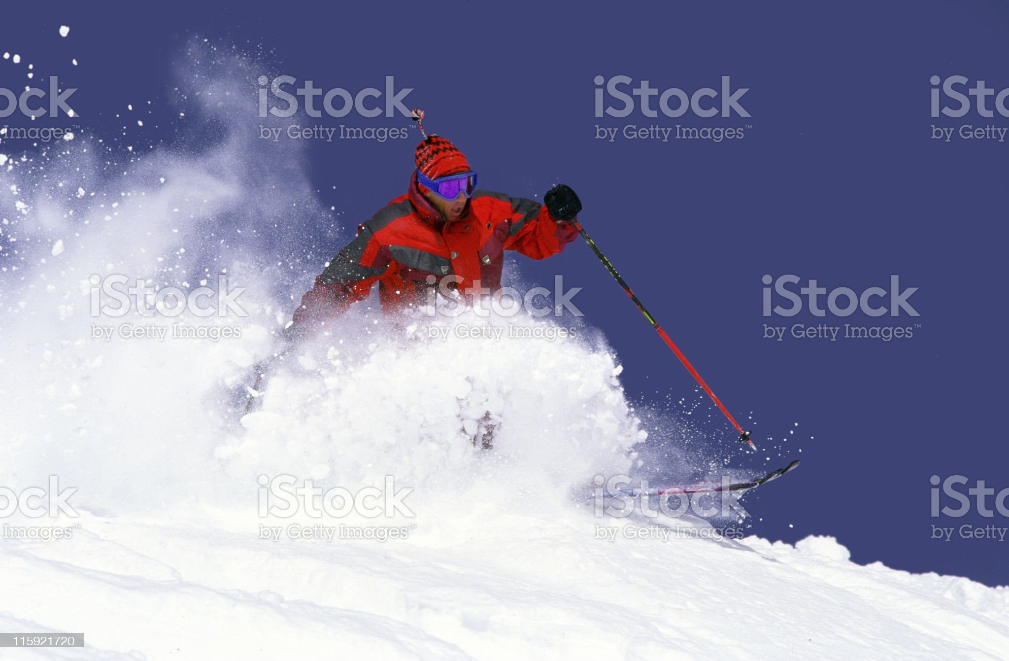 Powder Skier Against Blue Sky royalty-free stock photo
