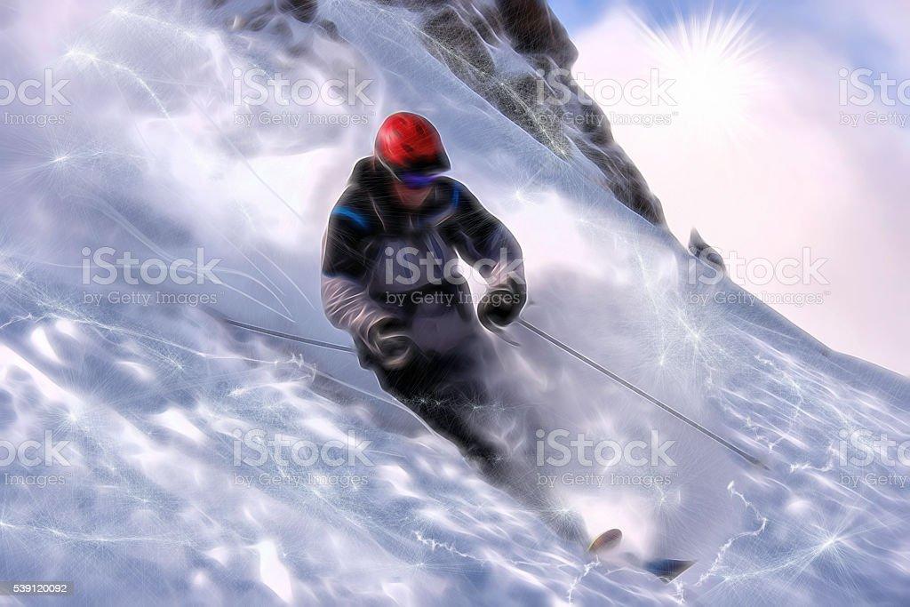 Powder Ski'er. stock photo