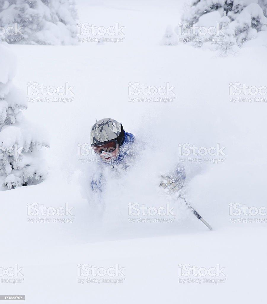 Powder Skiing in Vail Colorado stock photo
