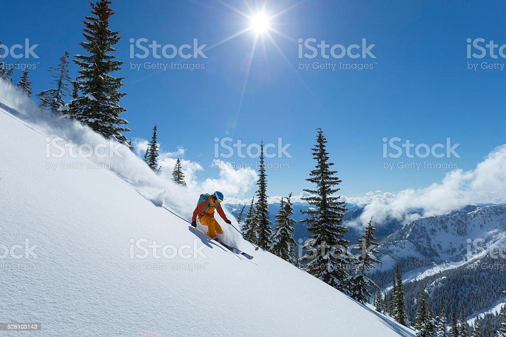 powder skiing stock photo