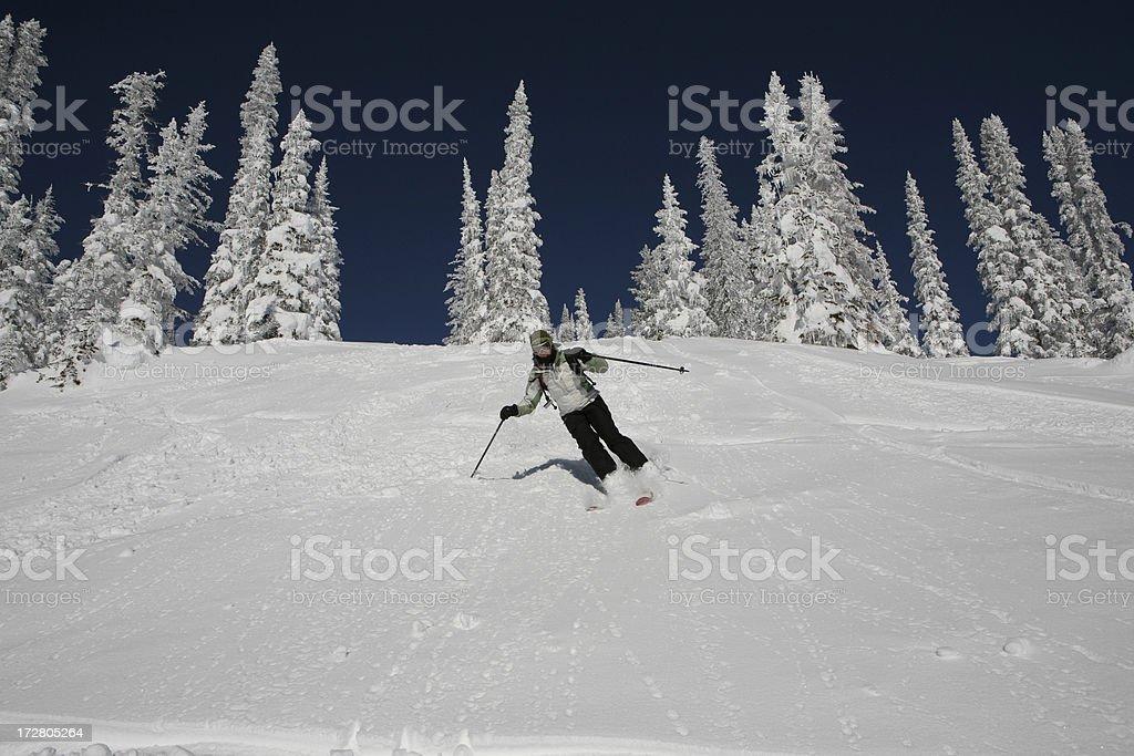powder skiing woman, Steamboat, Colorado stock photo