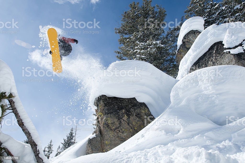 Powder snow jump stock photo